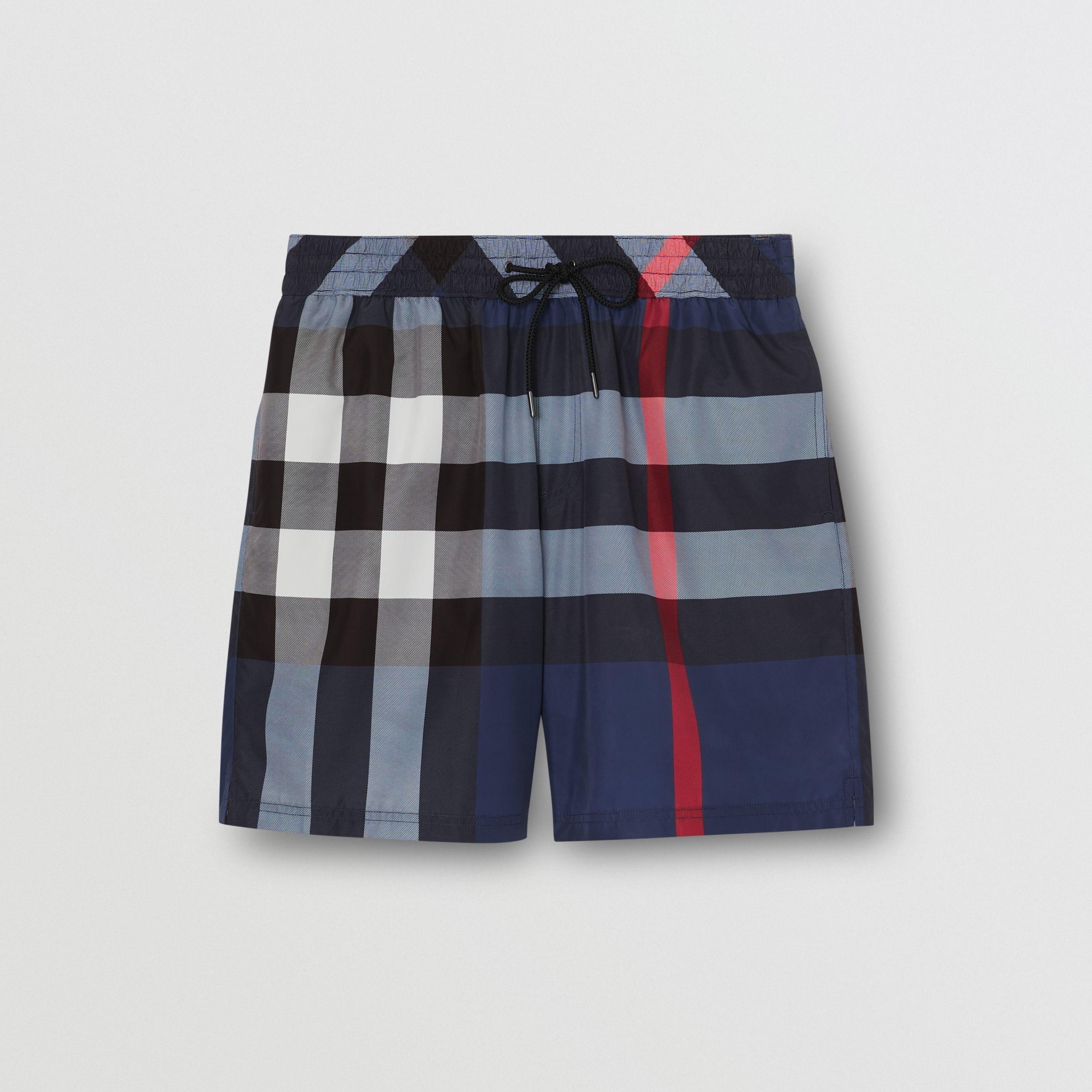Check Drawcord Swim Shorts in Carbon Blue - Men | Burberry - 3