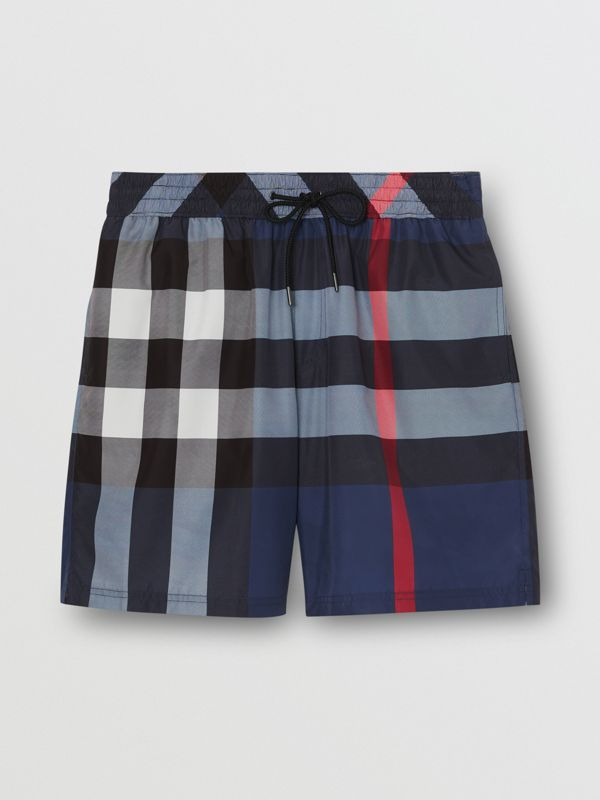 Check Drawcord Swim Shorts in Carbon Blue - Men | Burberry - cell image 2