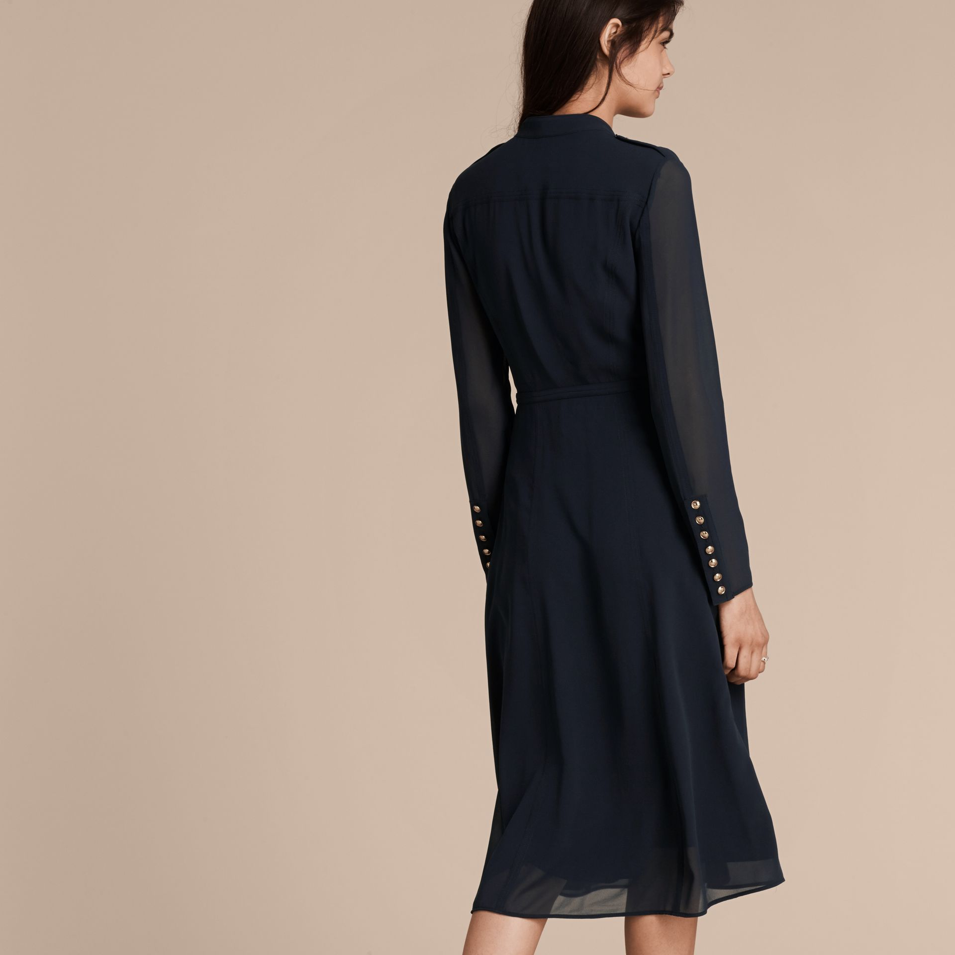 Navy Silk Dress with Polished Buttons - gallery image 3