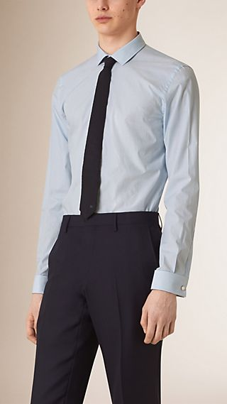 Slim Fit Double-cuff Striped Cotton Poplin Shirt