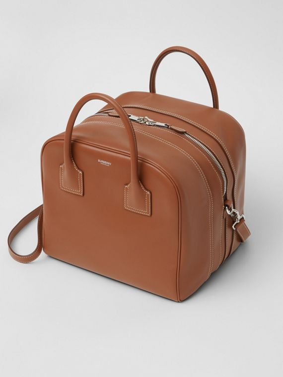 Medium Leather Cube Bag in Malt Brown