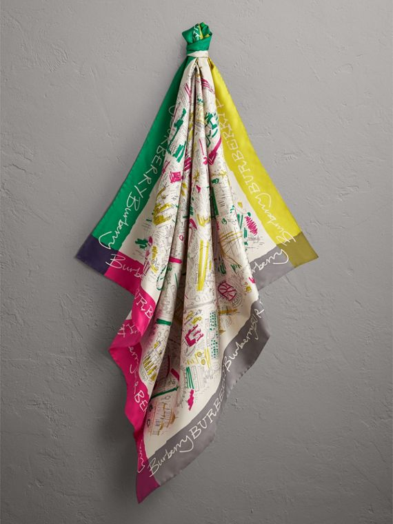 London Print Silk Square Scarf in Bright Peony | Burberry - cell image 3