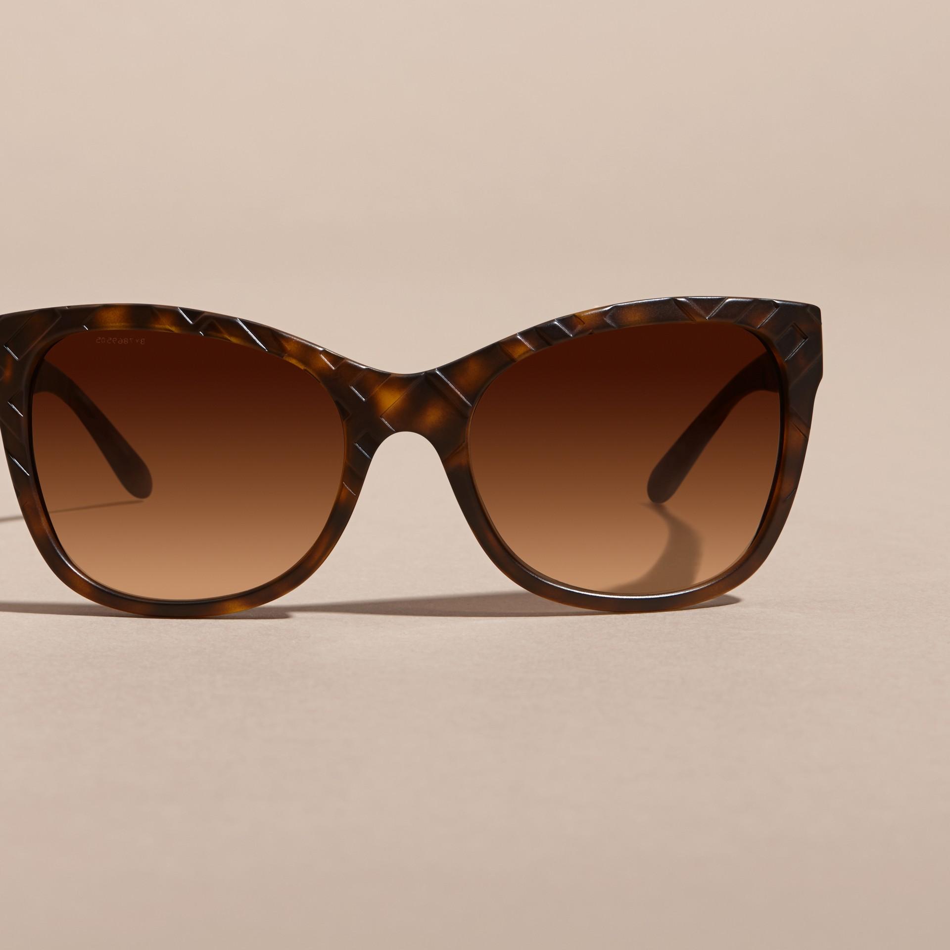Tortoise shell 3D Check Square Frame Sunglasses Tortoise Shell - gallery image 3