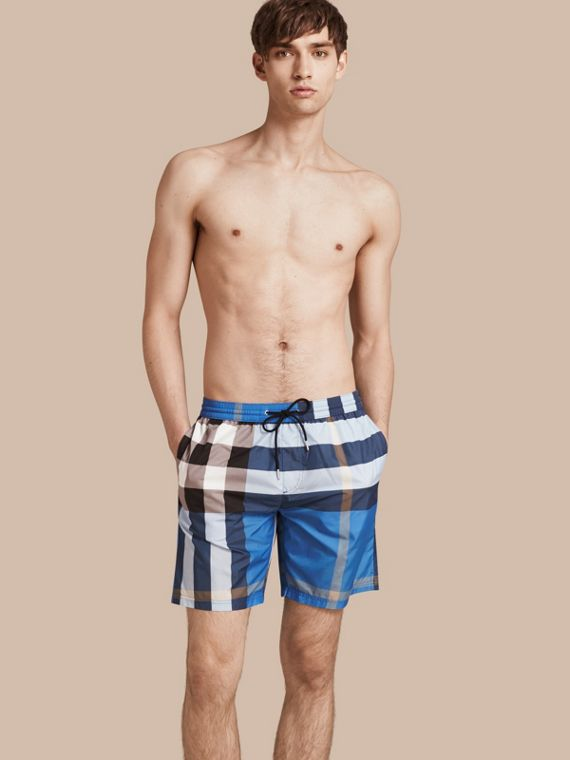 Check Swim Shorts Cerulean Blue
