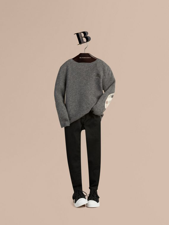 Check Elbow Patch Cashmere Sweater in Mid Grey Melange - Boy | Burberry Hong Kong