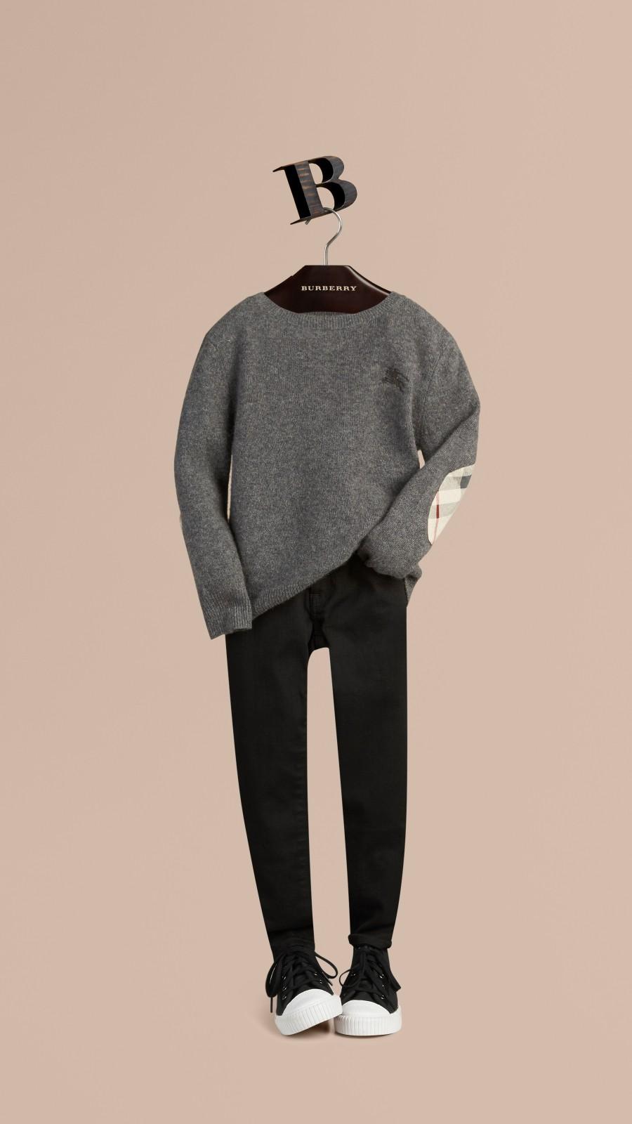 Mid grey melange Check Elbow Patch Cashmere Sweater Mid Grey Melange - Image 1