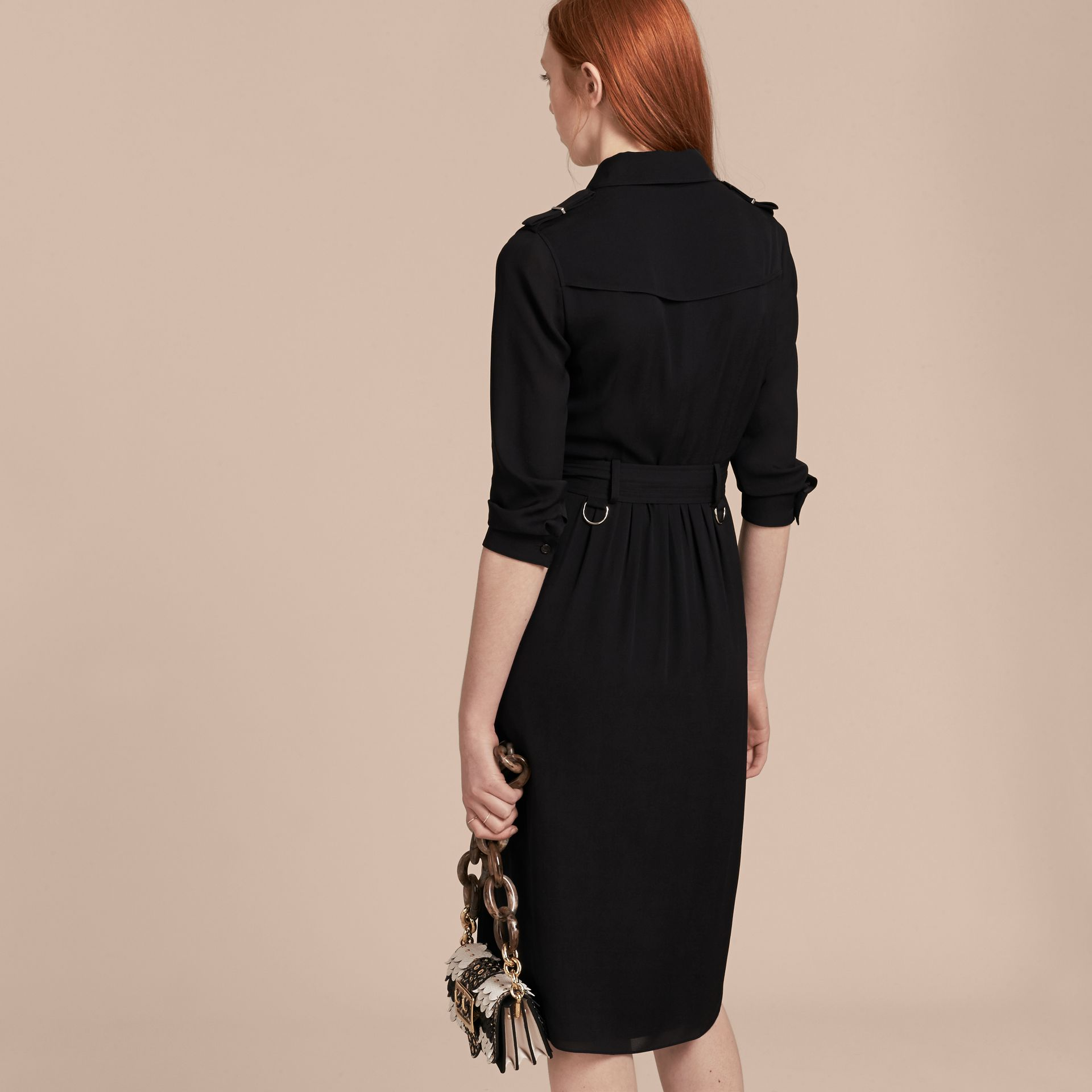Silk Wrap Trench Dress Black - gallery image 3