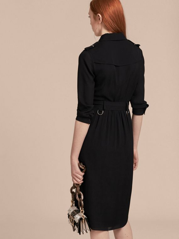 Silk Wrap Trench Dress Black - cell image 2
