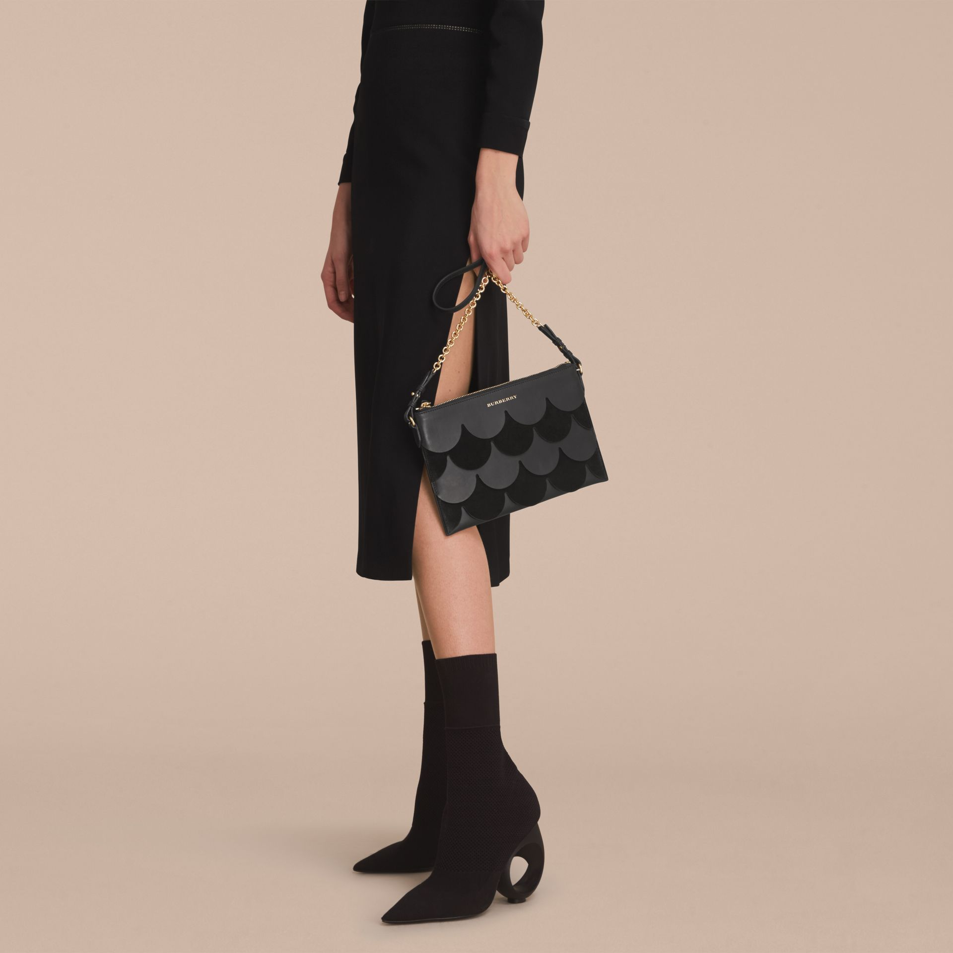 Two-tone Scalloped Leather and Suede Clutch Bag in Black - Women | Burberry - gallery image 3