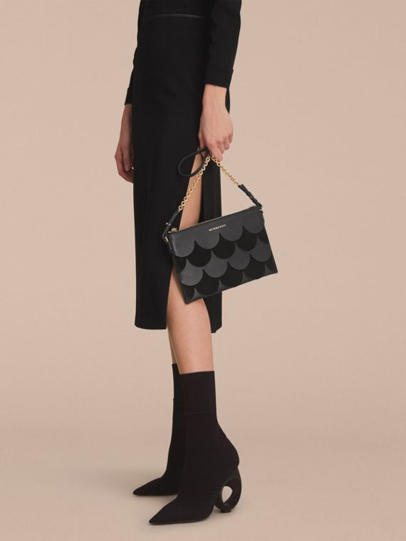 Two-tone Scalloped Leather and Suede Clutch Bag in Black - Women | Burberry - cell image 2