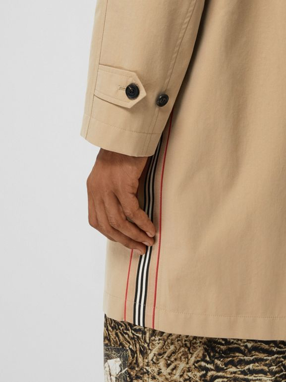 Icon Stripe Detail Tropical Gabardine Car Coat in Honey - Men | Burberry - cell image 1