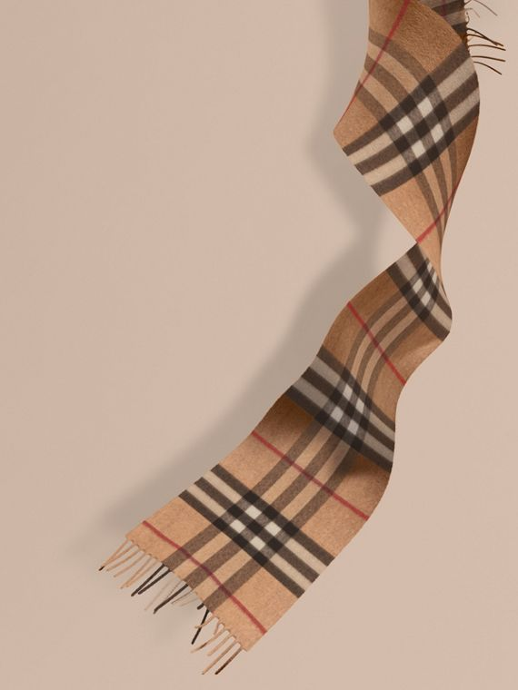 The Mini Classic Cashmere Scarf in Check in Camel | Burberry