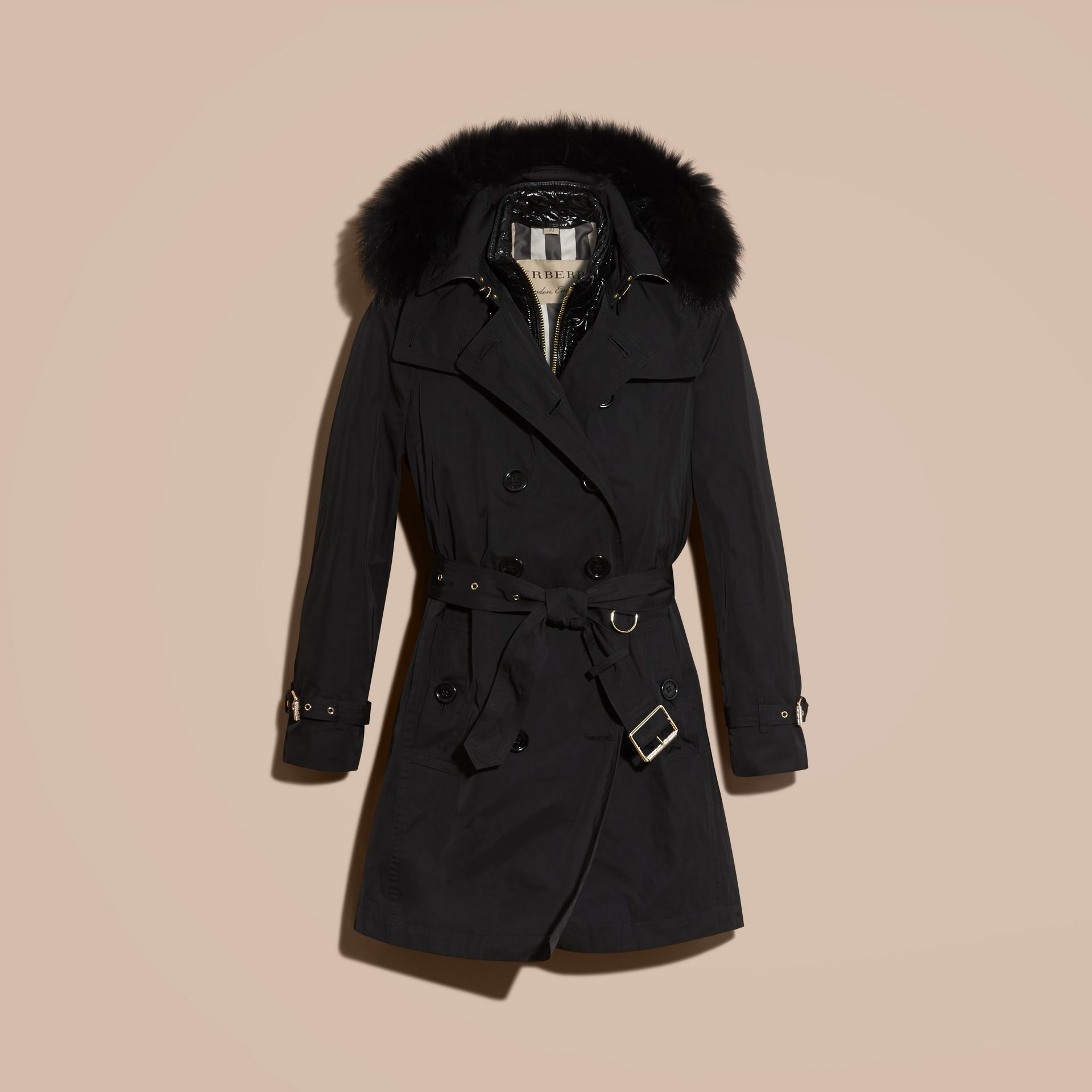 Black Fur-trimmed Hood Trench Coat with Detachable Gilet Black - gallery image 4