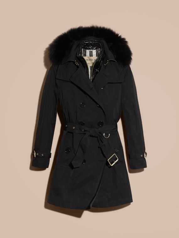 Fur-trimmed Hood Trench Coat with Detachable Gilet Black - cell image 3