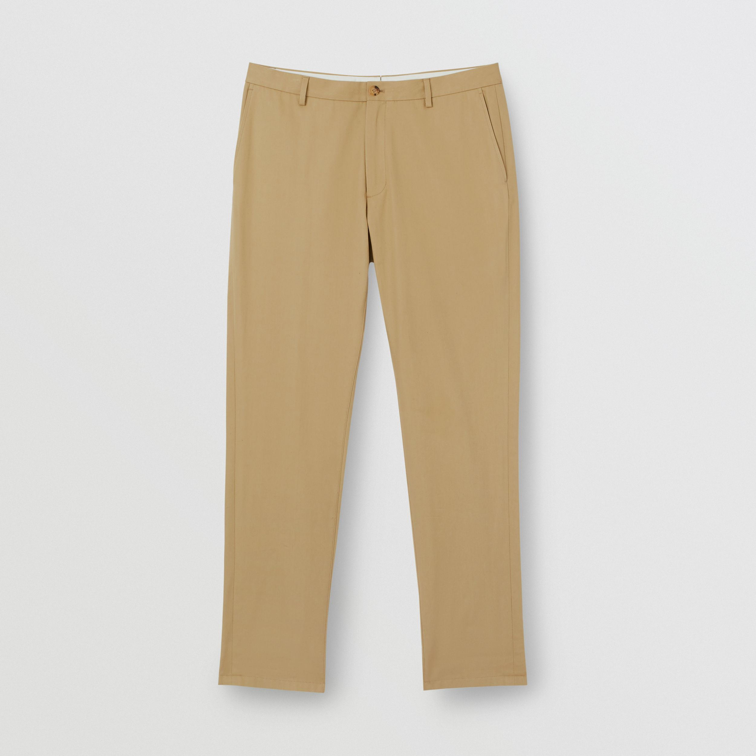 Slim Fit Cotton Chinos in Honey - Men | Burberry Canada - 4