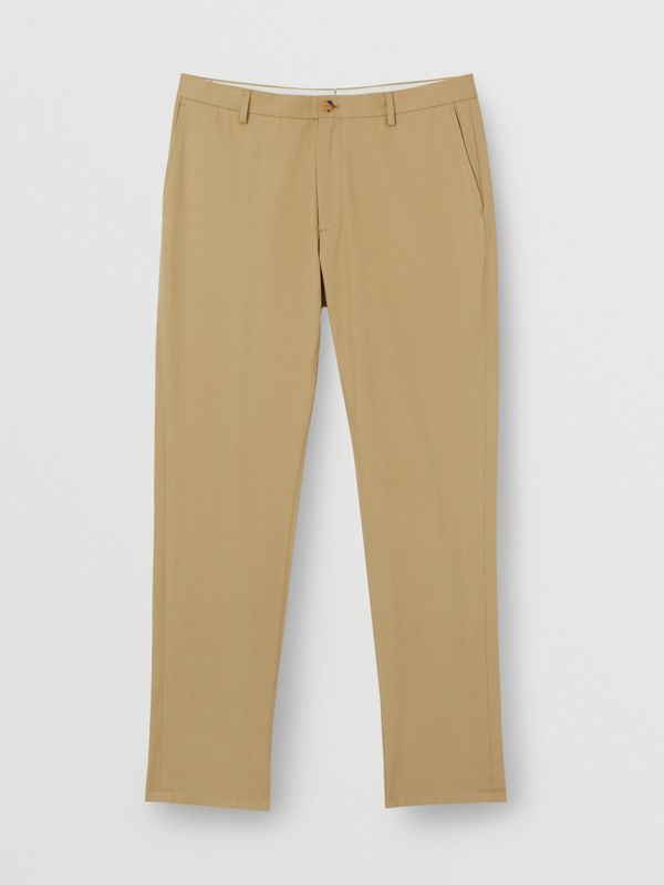 Slim Fit Cotton Chinos in Honey - Men | Burberry - cell image 3