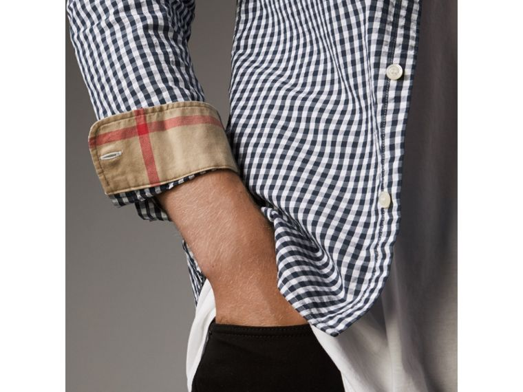 Gingham Cotton Poplin Shirt with Check Detail in Ink Blue - Men | Burberry - cell image 1
