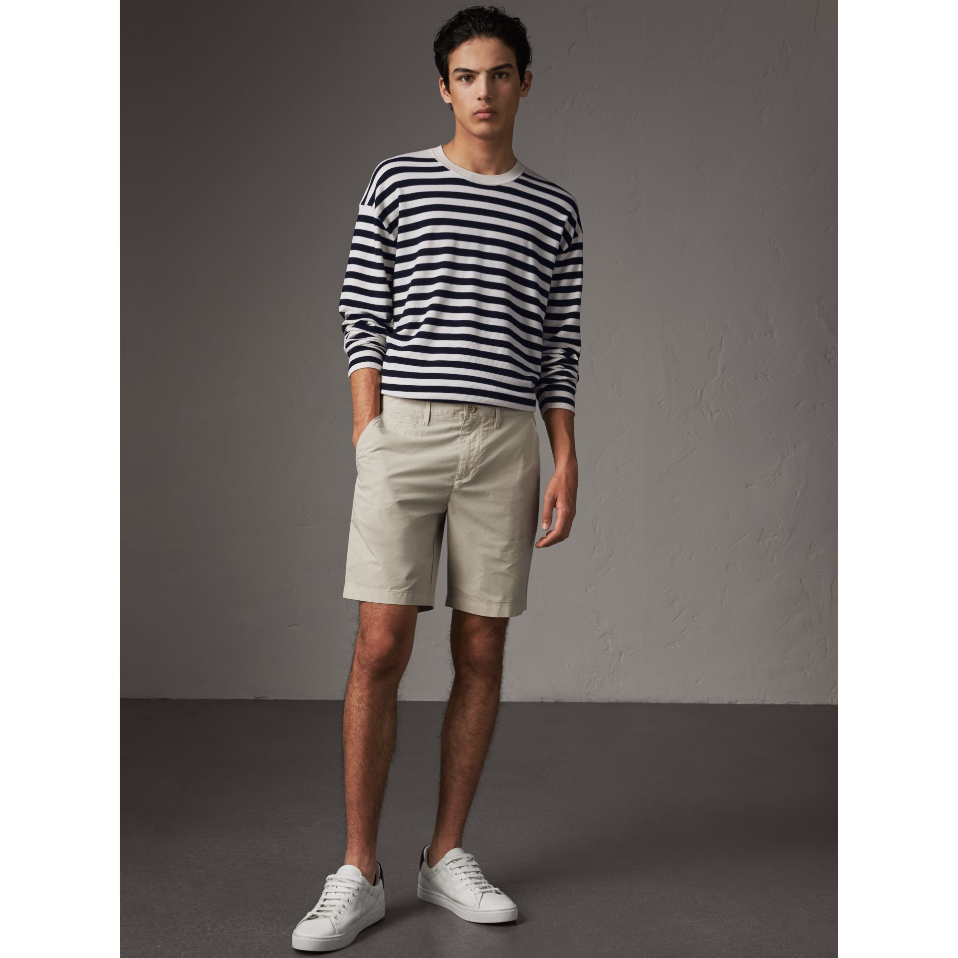 Cotton Poplin Chino Shorts in Stone - Men | Burberry United Kingdom - gallery image 0