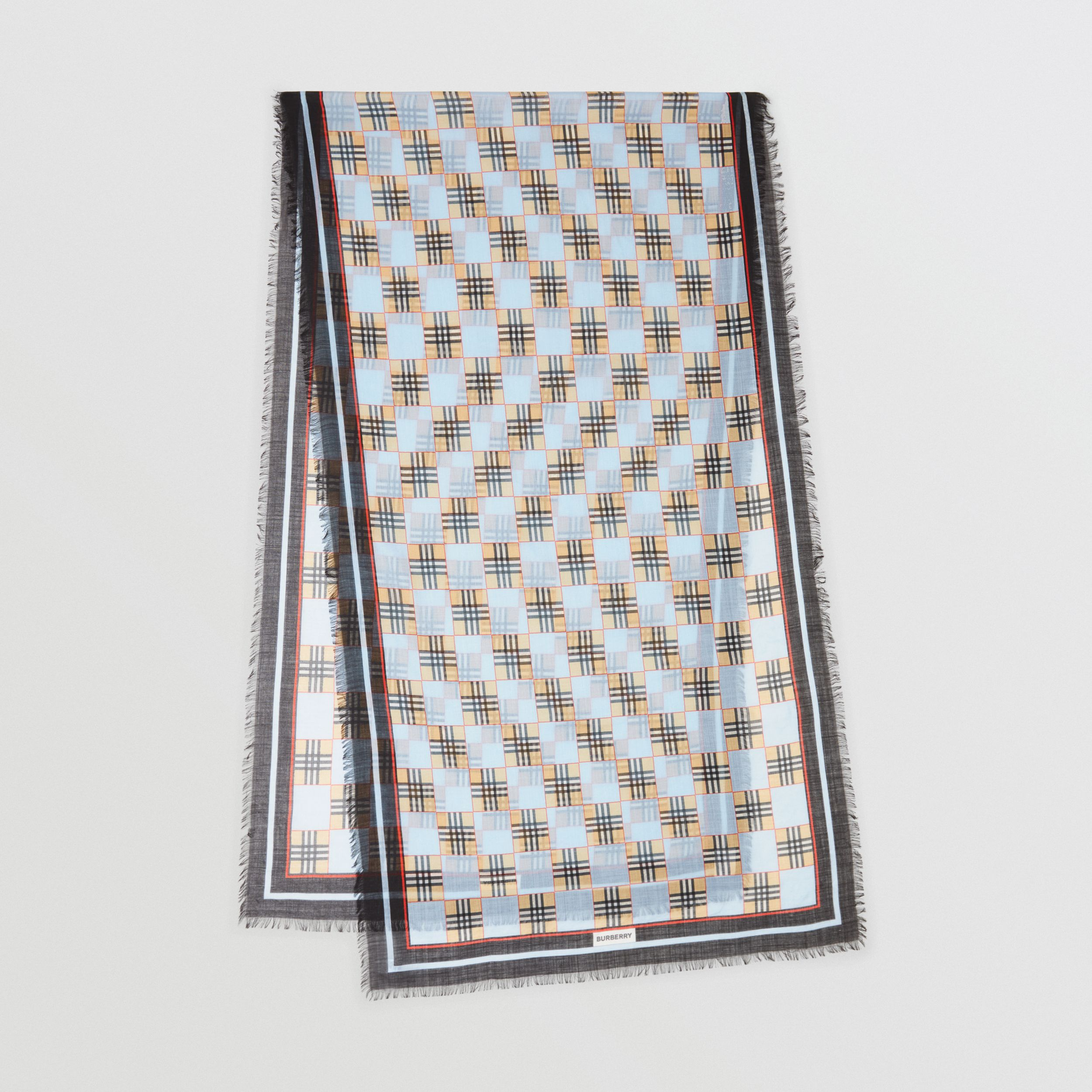 Chequer Print Wool Silk Scarf in Pale Blue | Burberry - 1