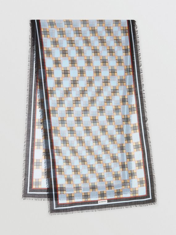 Chequer Print Wool Silk Scarf in Pale Blue