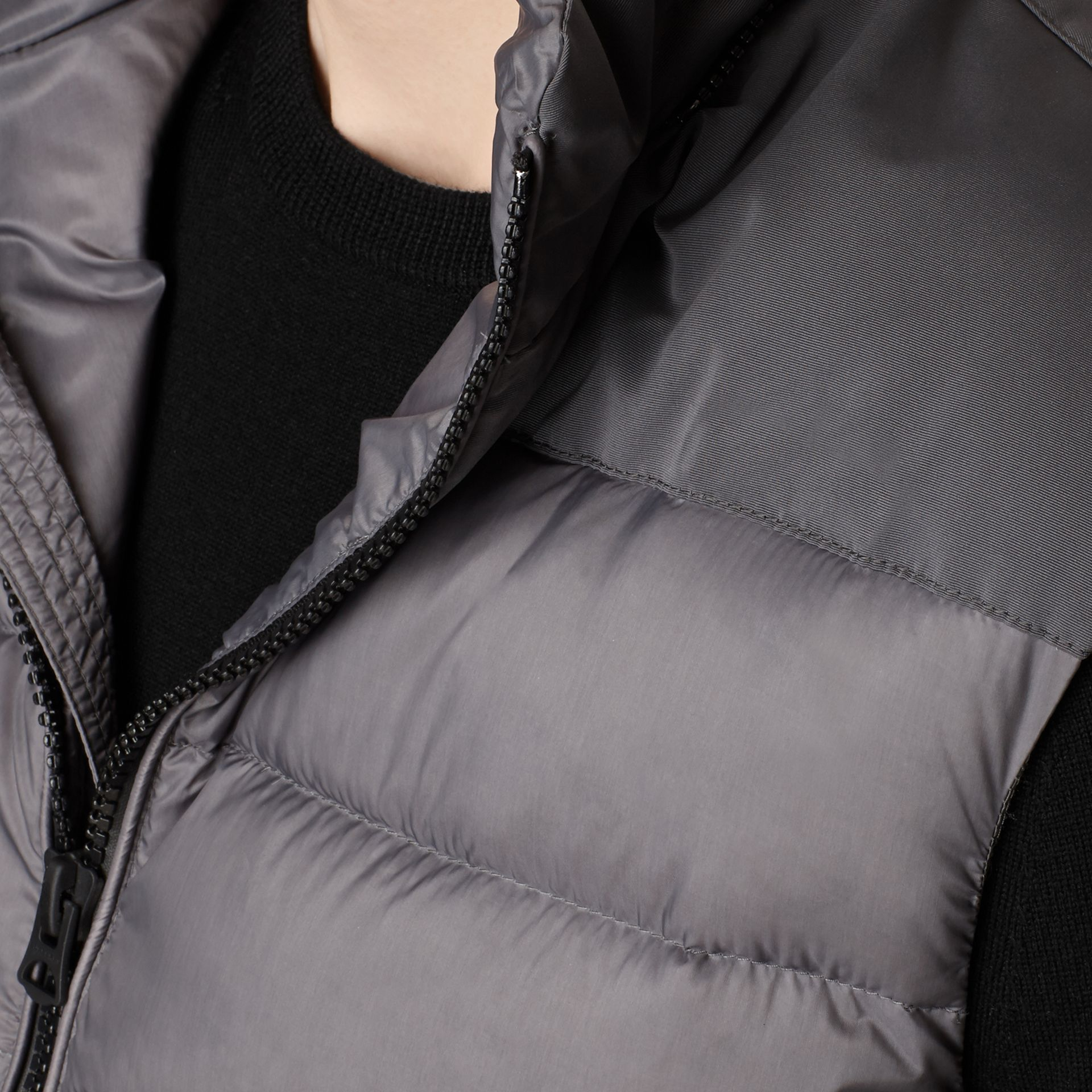 Storm grey Down-filled Gilet with Detachable Hood - gallery image 2