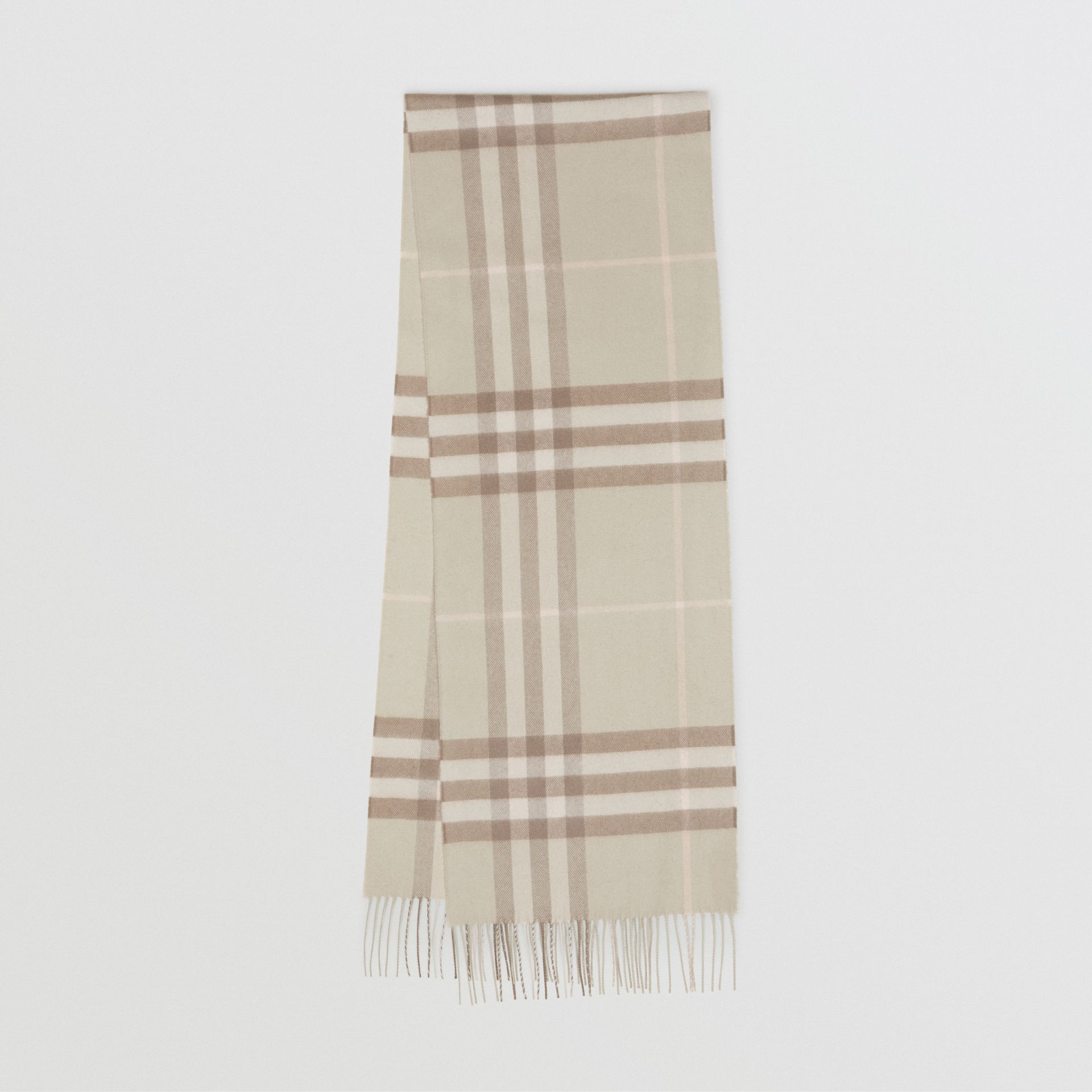 The Classic Check Cashmere Scarf in Green | Burberry - gallery image 0