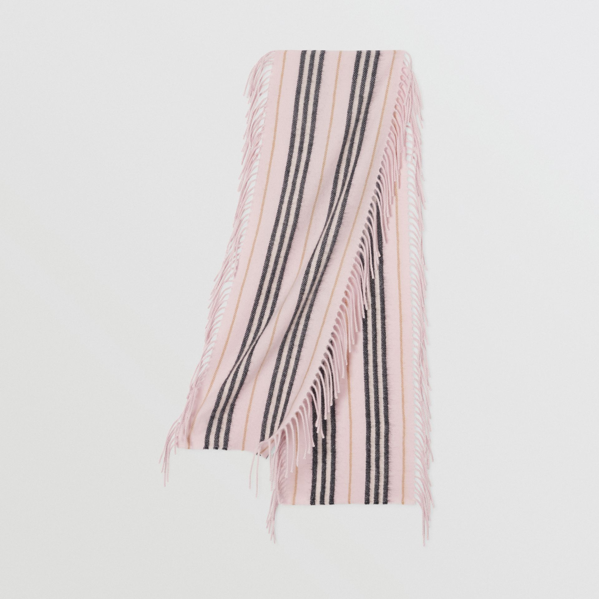 Fringed Icon Stripe Cashmere Scarf in Alabaster - Children | Burberry United States - gallery image 0