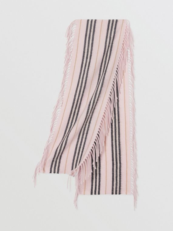 Fringed Icon Stripe Cashmere Scarf in Alabaster