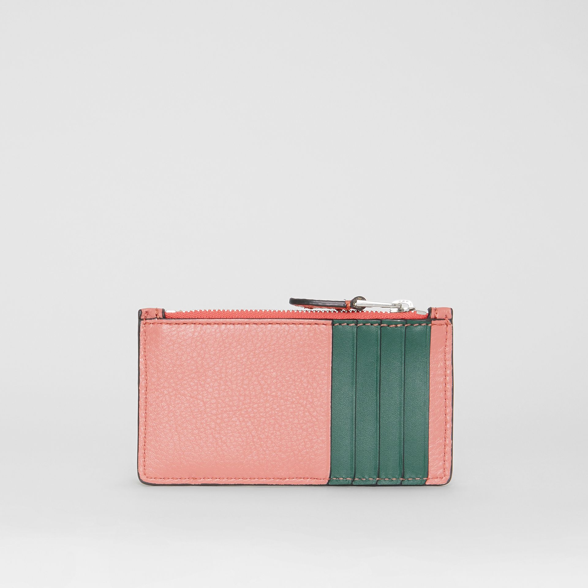 Two-tone Leather Zip Card Case in Dusty Rose - Women | Burberry Australia - gallery image 4