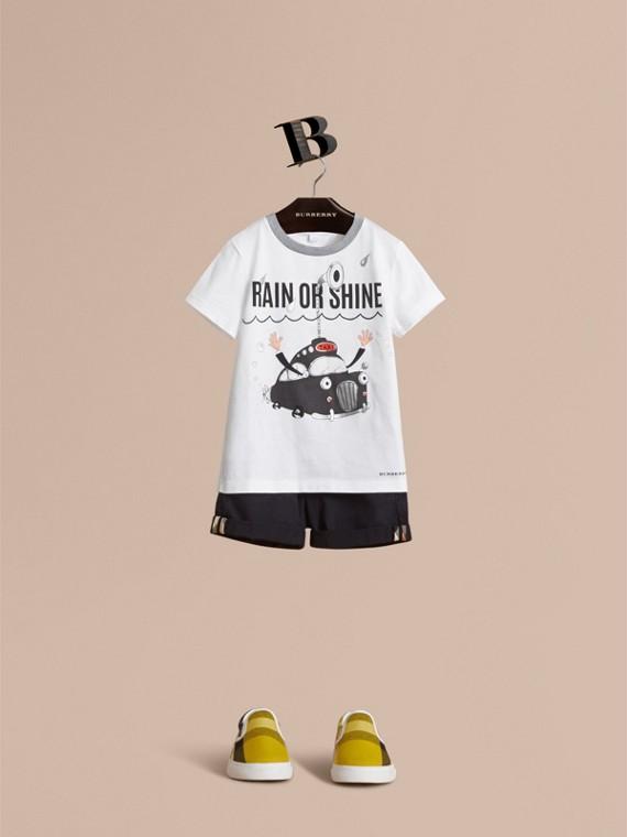 Rain or Shine Motif Cotton T-shirt
