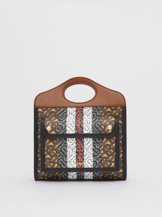 Pocket Bag im Miniformat aus Eco-Canvas mit Monogrammmuster im Streifendesign (Lederbraun)