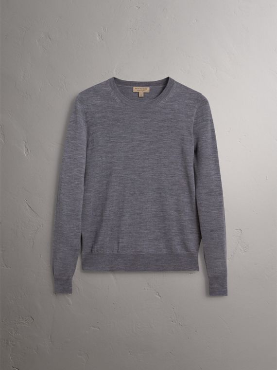 Check Detail Merino Wool Sweater in Mid Grey Melange - Women | Burberry - cell image 3