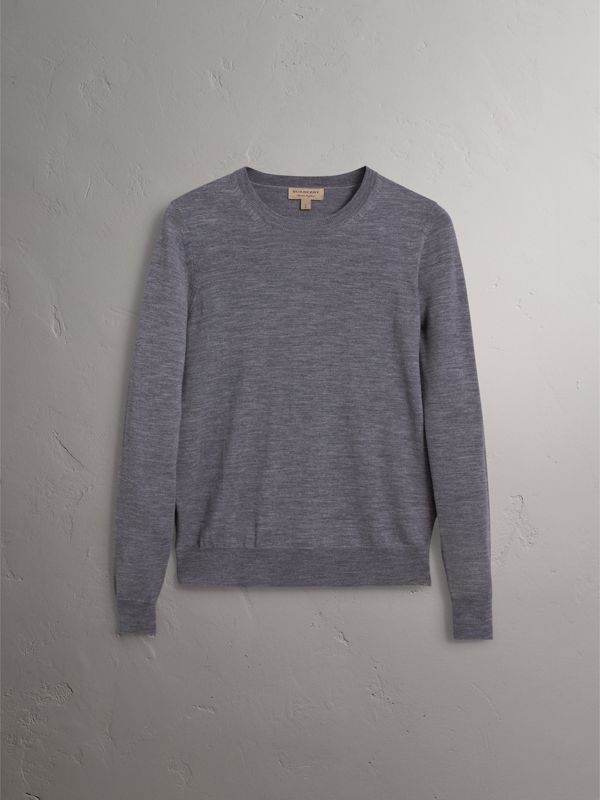 Check Detail Merino Wool Sweater in Mid Grey Melange - Women | Burberry United Kingdom - cell image 3