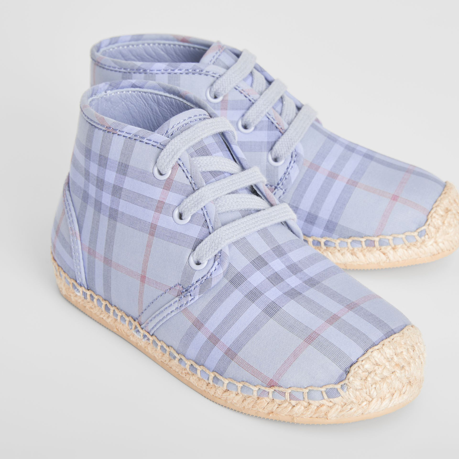 Check Espadrille Booties in Dusty Blue | Burberry - gallery image 1