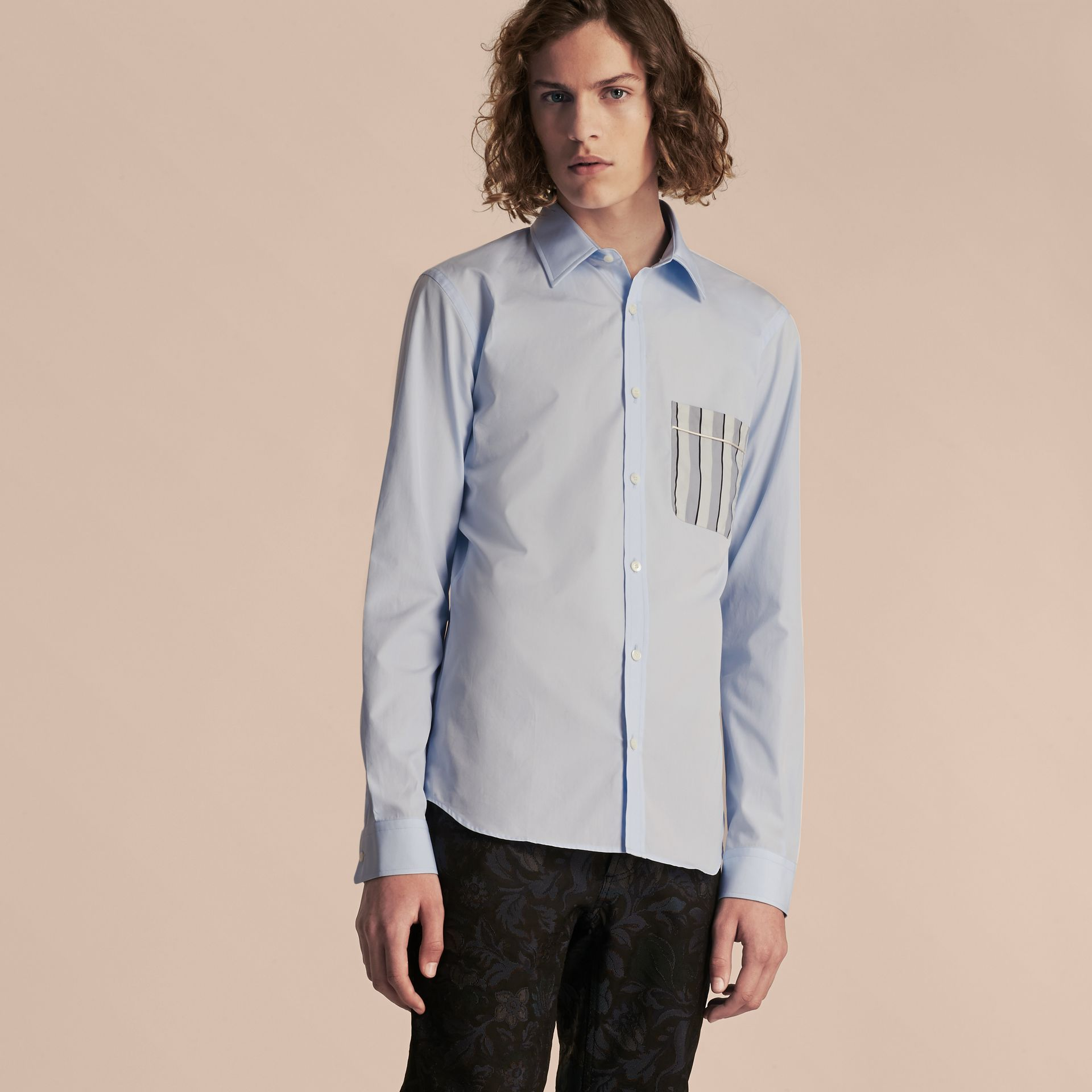 Pale sky blue Cotton Poplin Shirt with Pyjama Stripe Pocket - gallery image 6