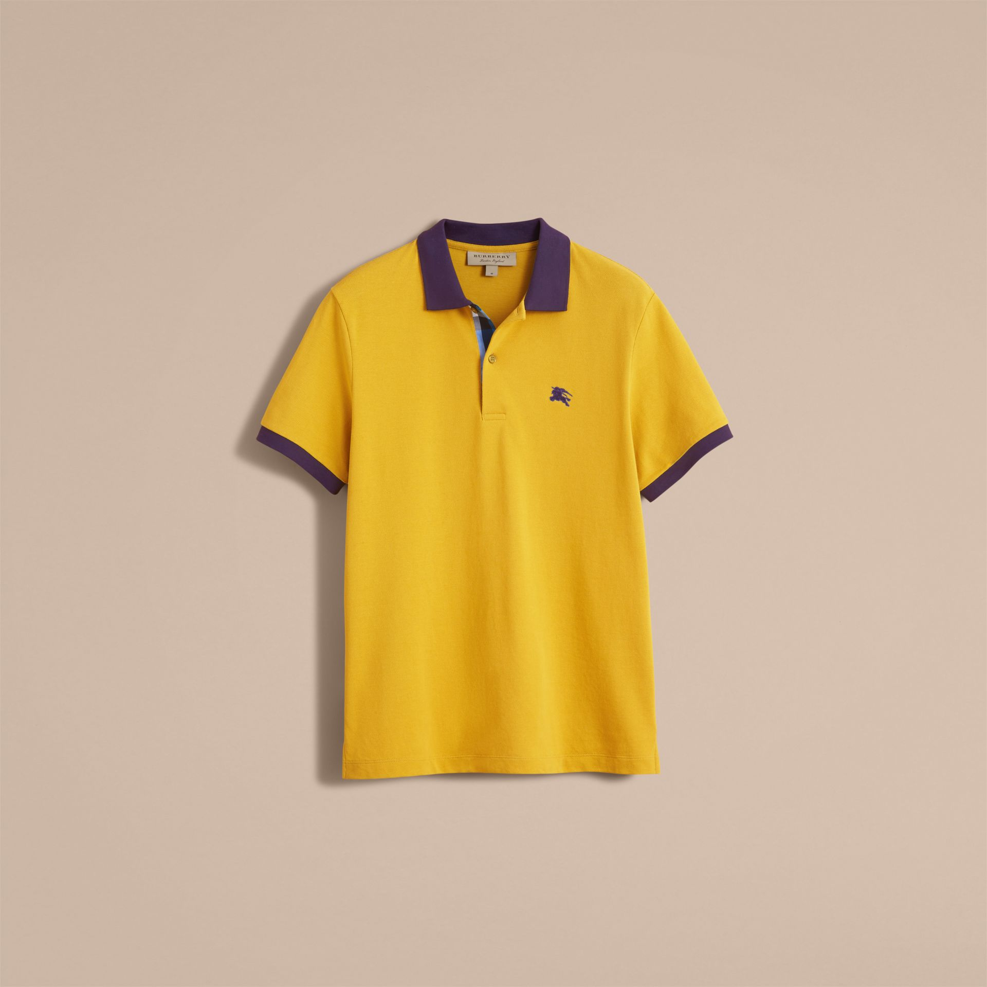 Two-tone Check Placket Cotton Piqué Polo Shirt Gorse Yellow - gallery image 4