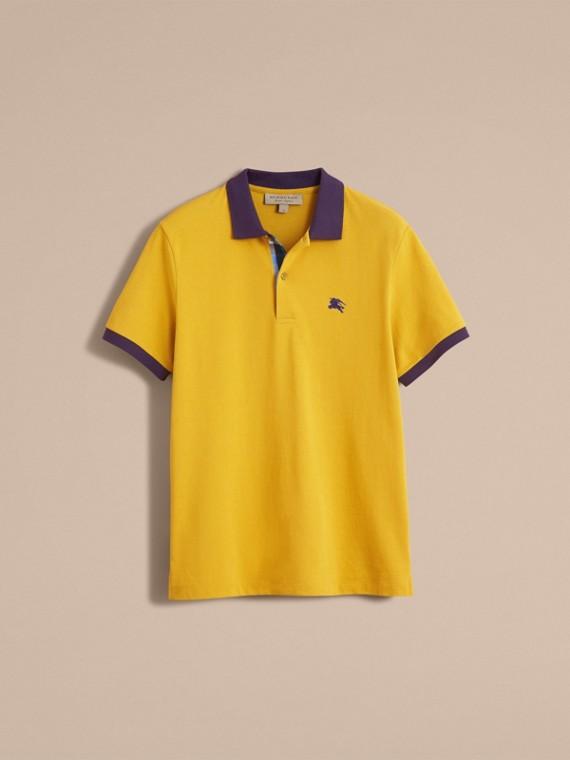 Two-tone Check Placket Cotton Piqué Polo Shirt Gorse Yellow - cell image 3
