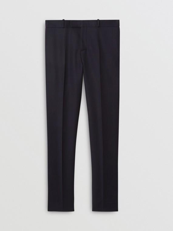 Pantalon de costume slim en sergé de laine (Marine)