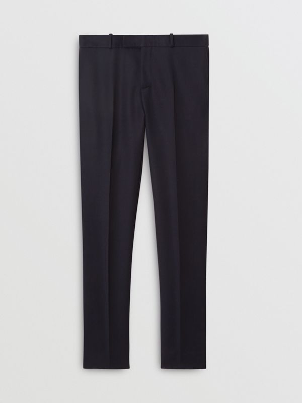 Slim Fit Wool Twill Tailored Trousers in Navy - Men | Burberry Canada - cell image 3