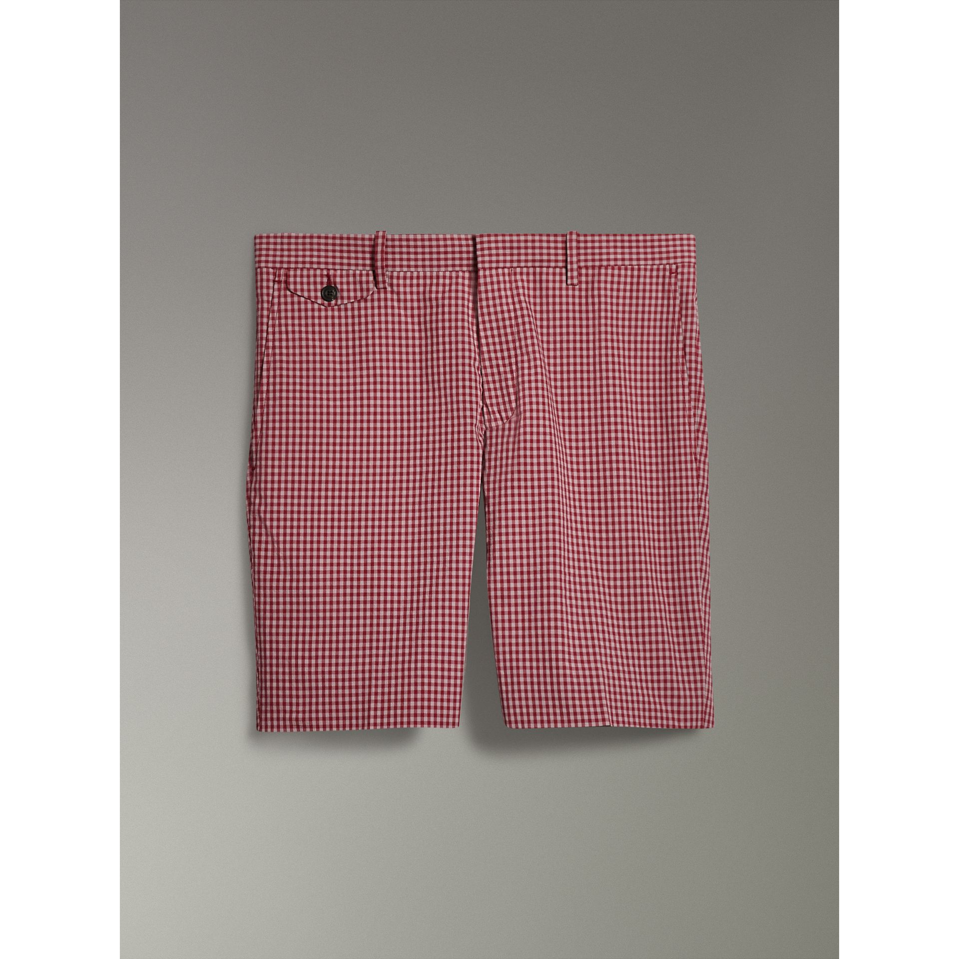Gingham Cotton Tailored Shorts in Elderberry - Men | Burberry Australia - gallery image 3