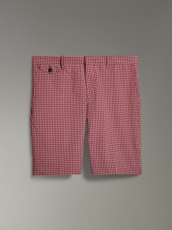Gingham Cotton Tailored Shorts in Elderberry - Men | Burberry - cell image 3