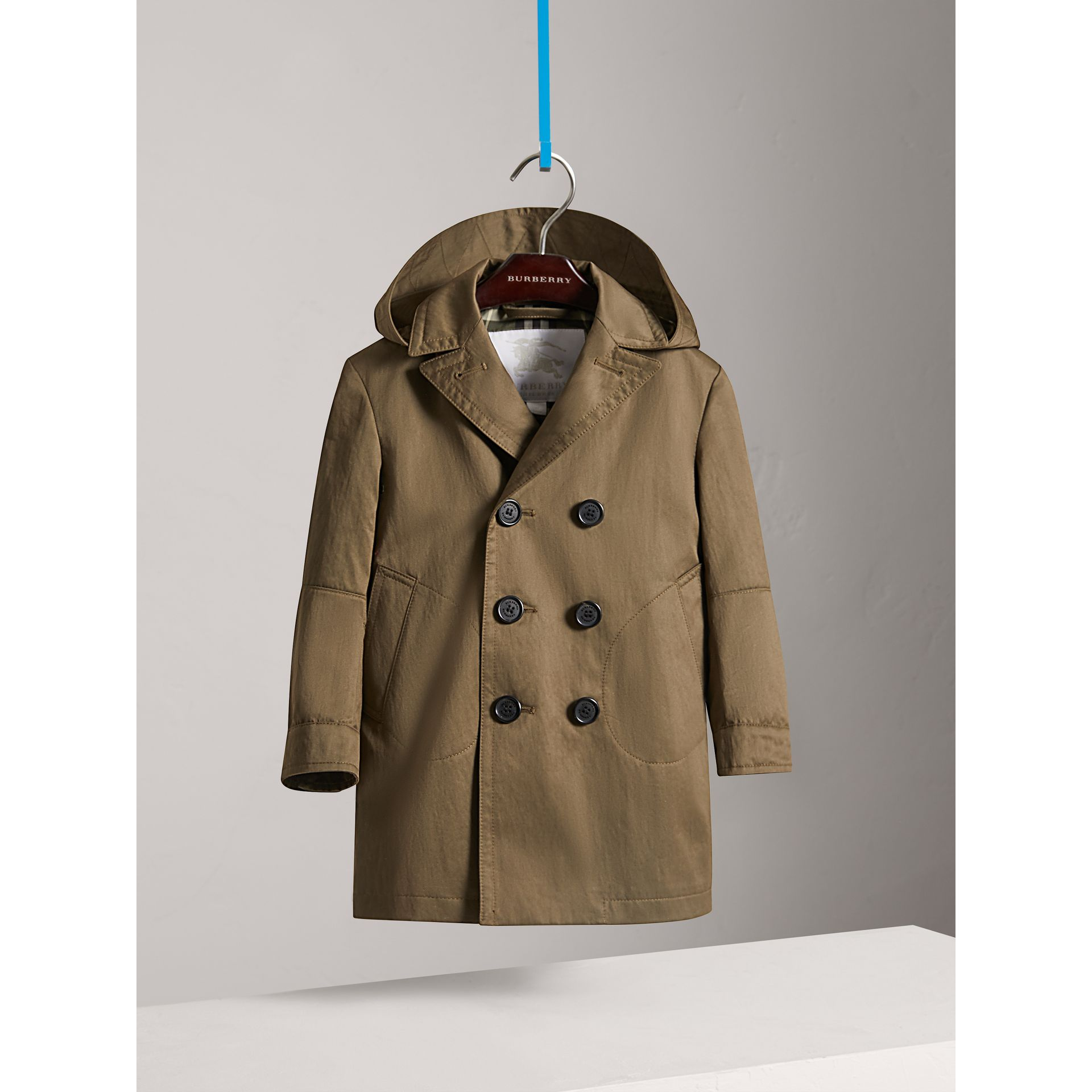 Detachable Hood Cotton Blend Trench Coat in Dark Olive - Boy | Burberry - gallery image 2