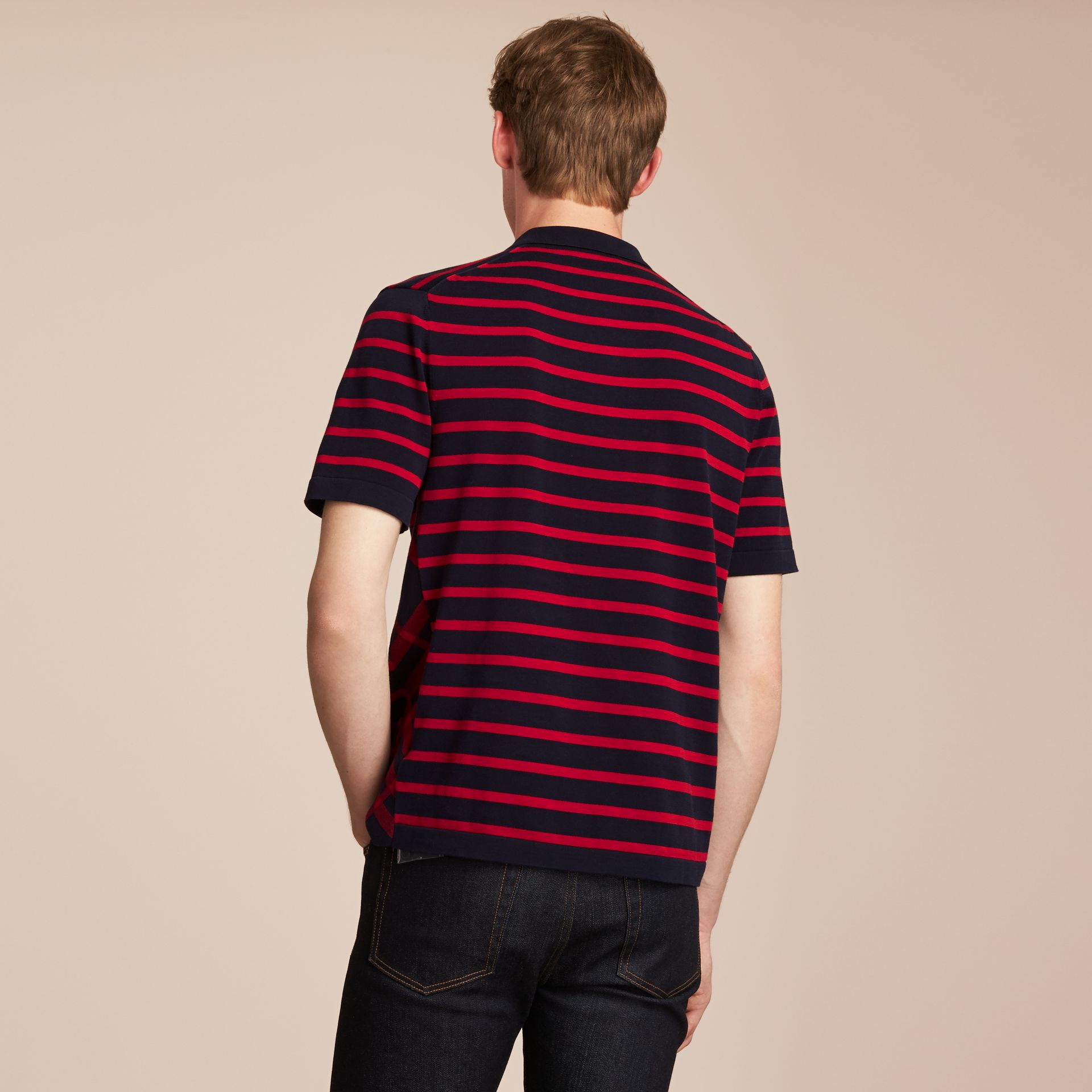 Breton Stripe Cotton Polo Shirt Navy - gallery image 3