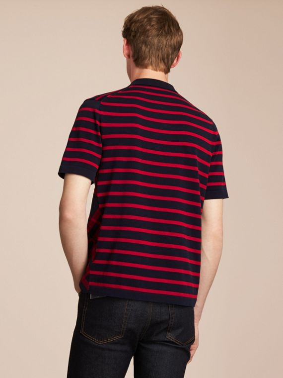 Breton Stripe Cotton Polo Shirt Navy - cell image 2