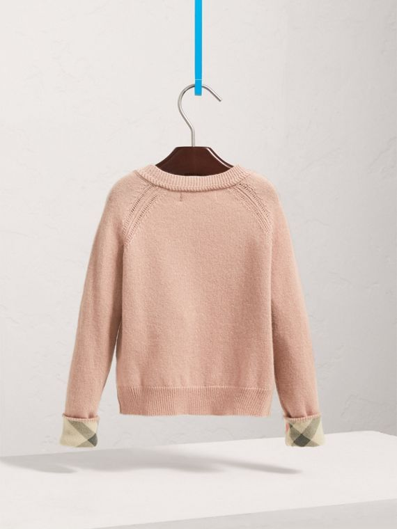 Check Detail Cashmere Cardigan in Dusty Pink - Girl | Burberry United Kingdom - cell image 3