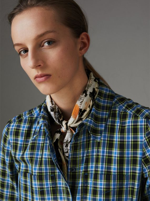 Daisy Print Cotton Scarf in Black | Burberry - cell image 2