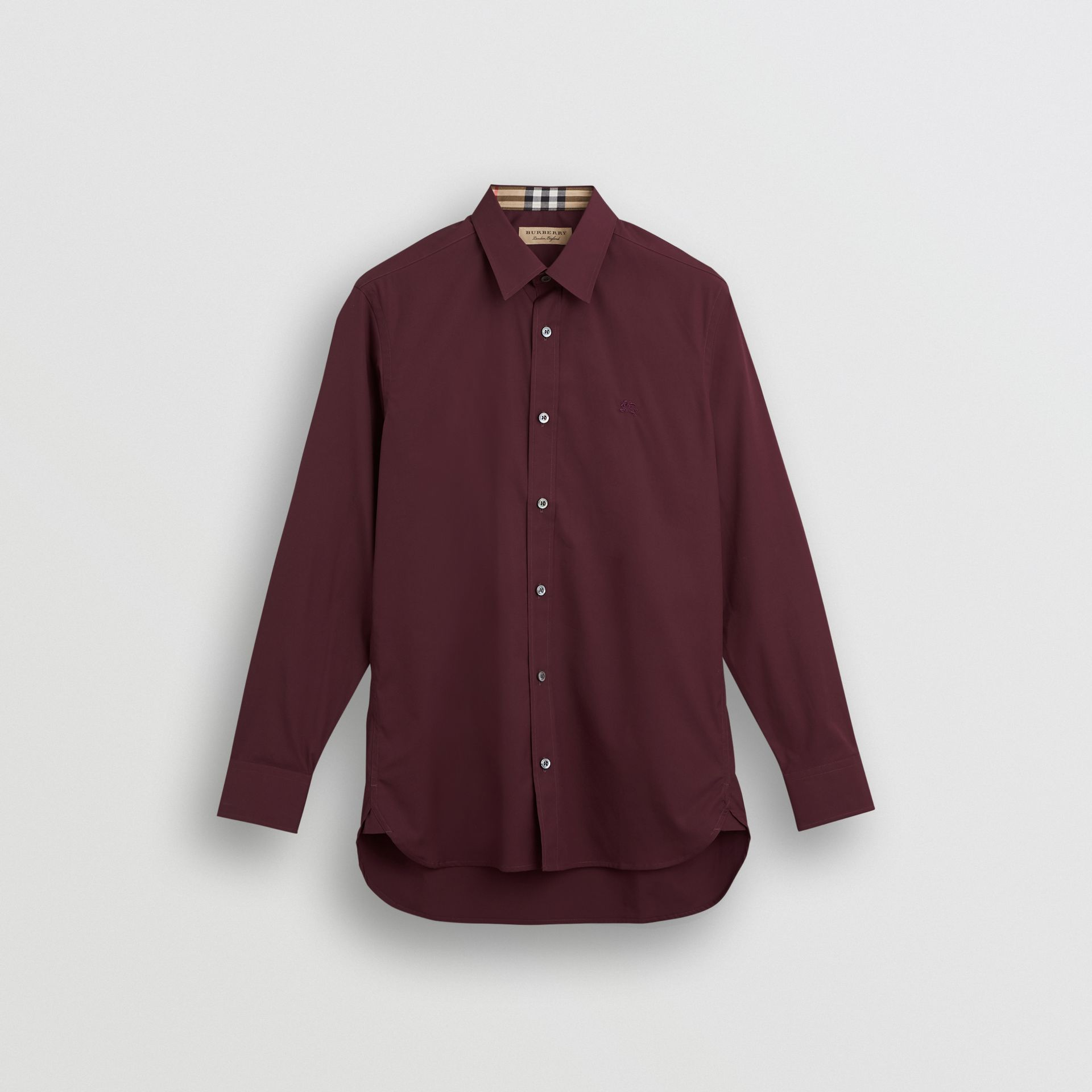 Check Cuff Stretch Cotton Poplin Shirt in Oxblood - Men | Burberry Australia - gallery image 3