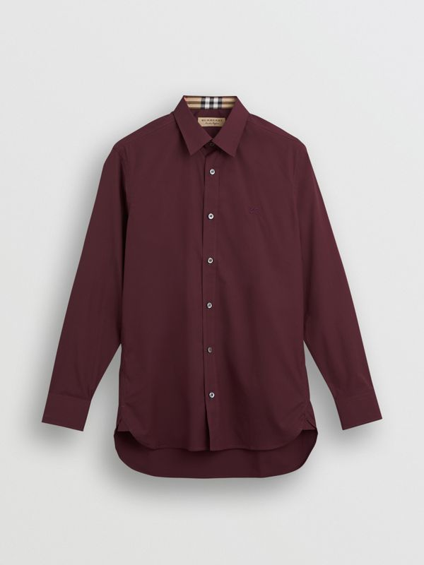 Check Cuff Stretch Cotton Poplin Shirt in Oxblood - Men | Burberry Singapore - cell image 3