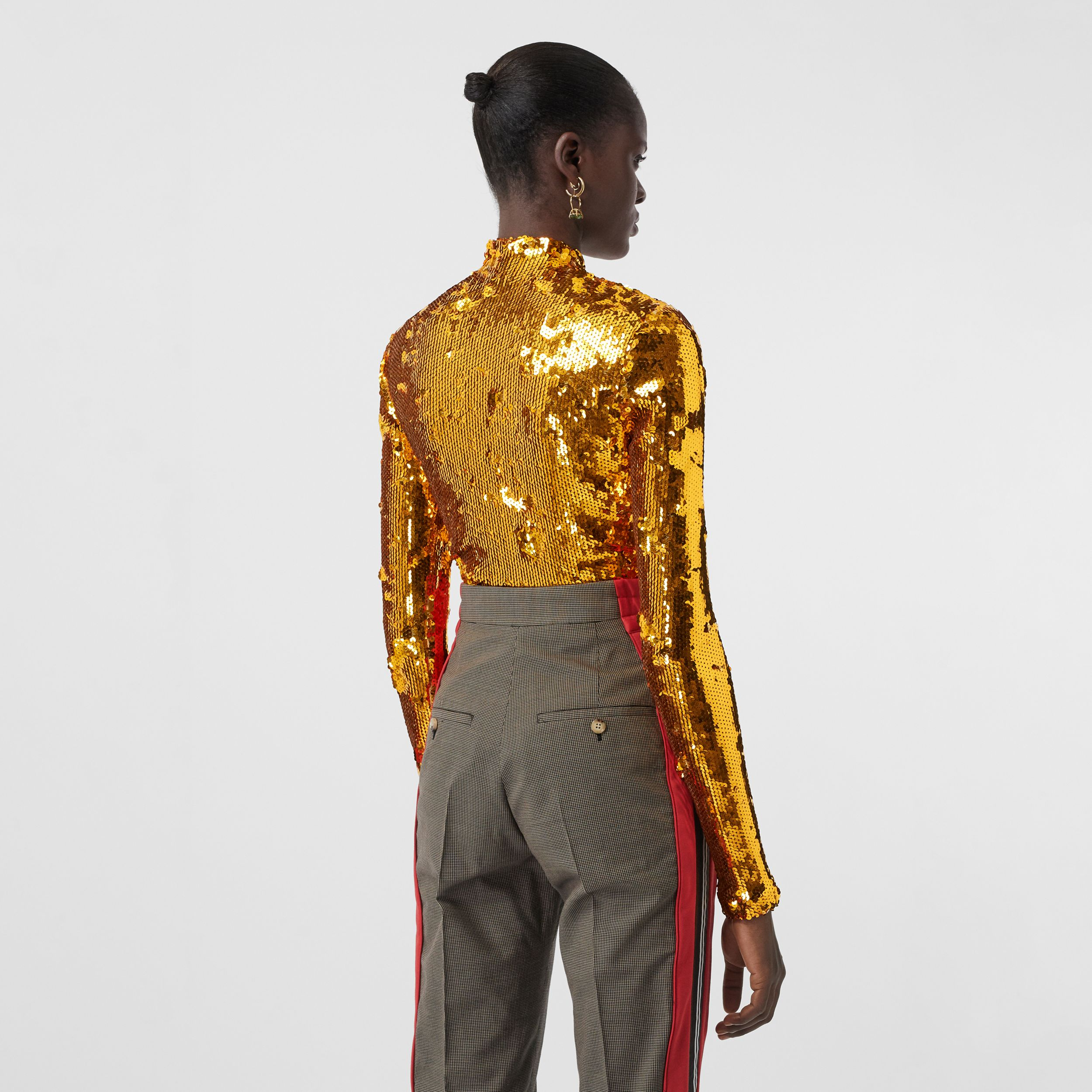Sequinned Turtleneck Top in Gold - Women | Burberry - 3