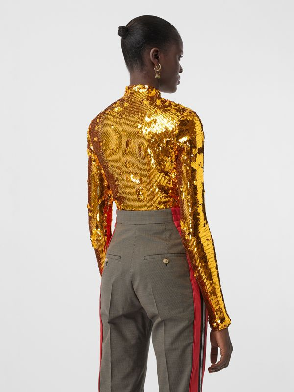 Sequinned Turtleneck Top in Gold - Women | Burberry United States - cell image 2